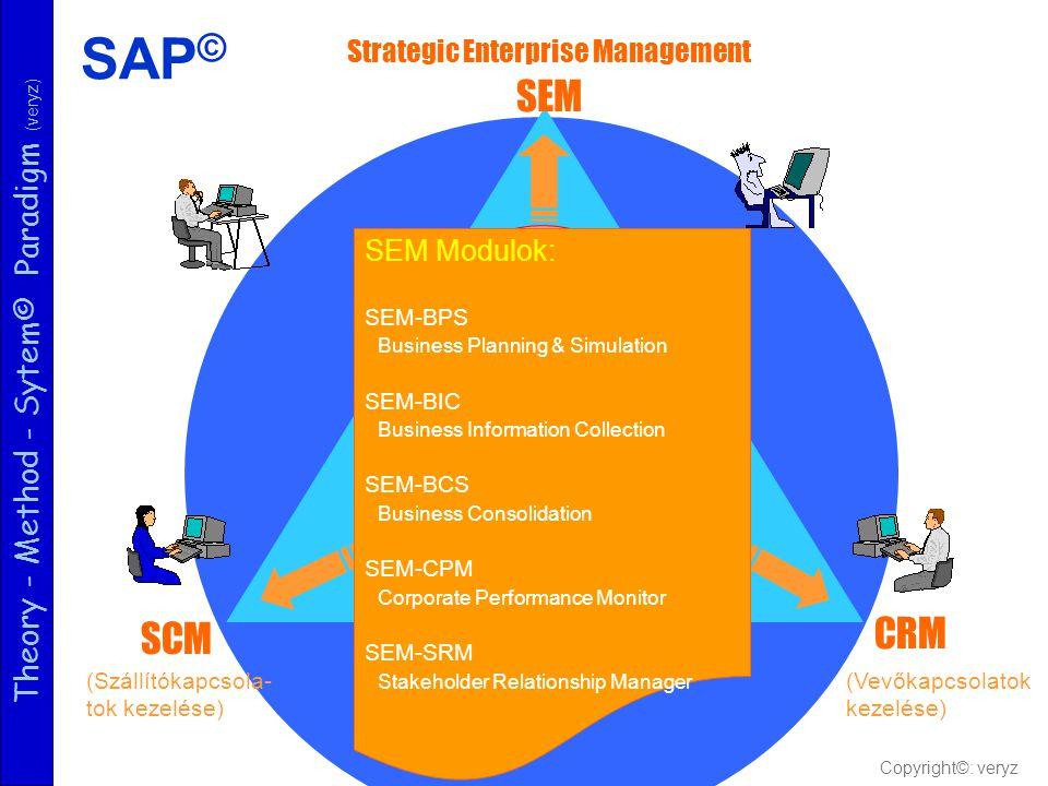 Theory - Method - Sytem© Paradigm (veryz) Logisztikai rész- rendszer Szolgálta tási rész- rendszer Pénzügyi részrendszer Strategic Enterprise Manageme