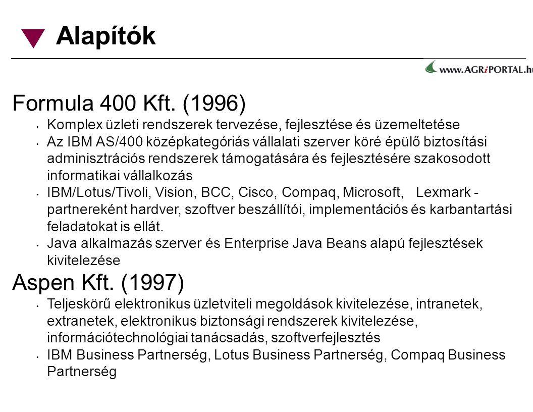 Alapítók Formula 400 Kft. (1996) Komplex üzleti rendszerek tervezése, fejlesztése és üzemeltetése Az IBM AS/400 középkategóriás vállalati szerver köré