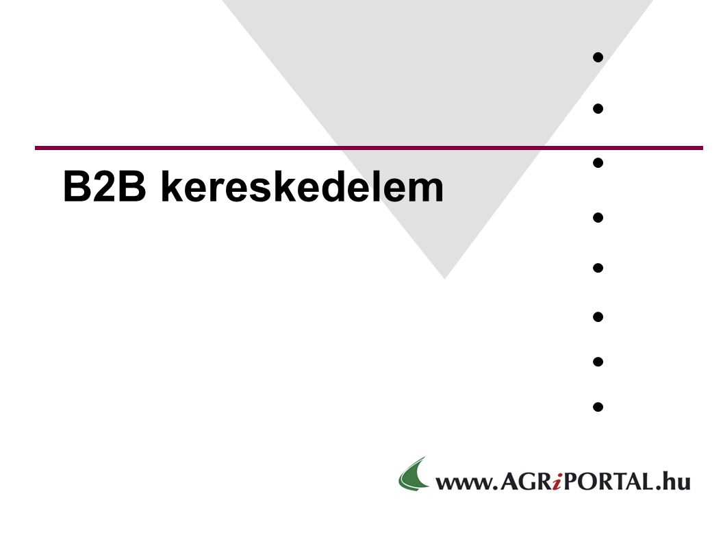 E-kereskedelemi fogalmak A2A Elektronikus államigazgatás A B C E-közigazgatás E-vállalat E-polgár, E- fogyasztó, E-munkavállaló C2A, A2C ügyintézés B2C, C2B, B2E E-kereskedelem, E-bank B2B E-piactér A2B, B2A E-közbeszerzés E-ügyintézés Forrás: Carnation Internet Consulting Rt.