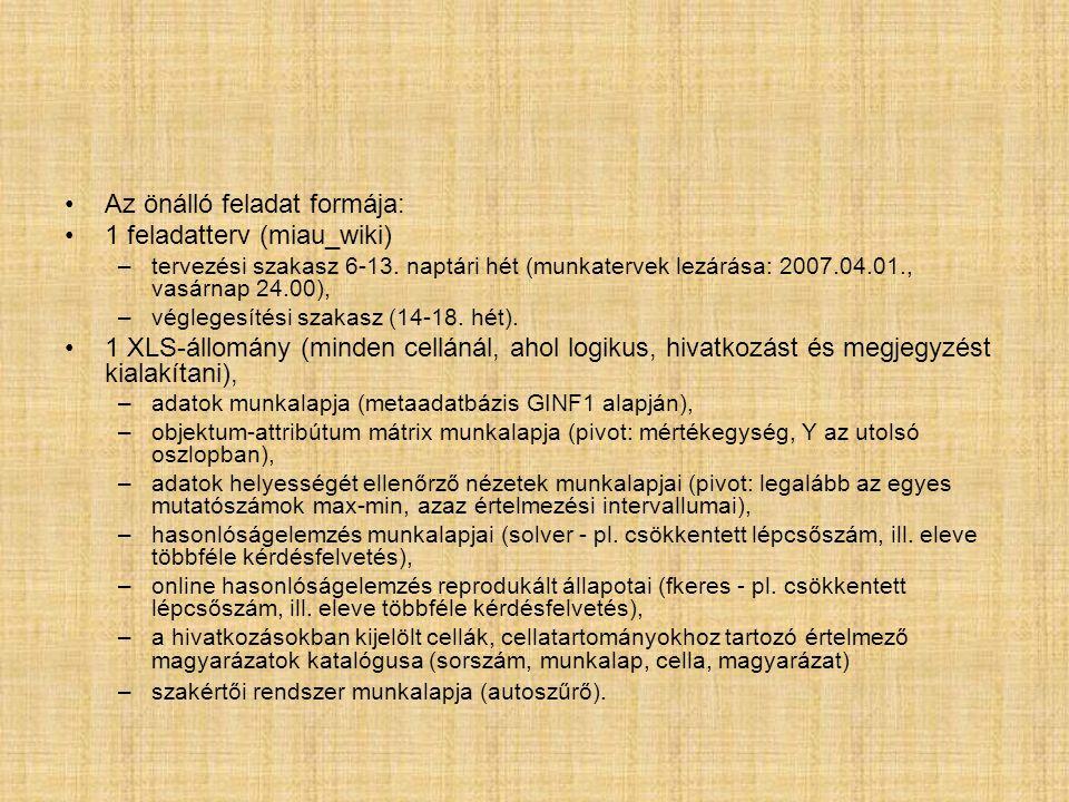 Az önálló feladat formája: 1 feladatterv (miau_wiki) –tervezési szakasz 6-13.
