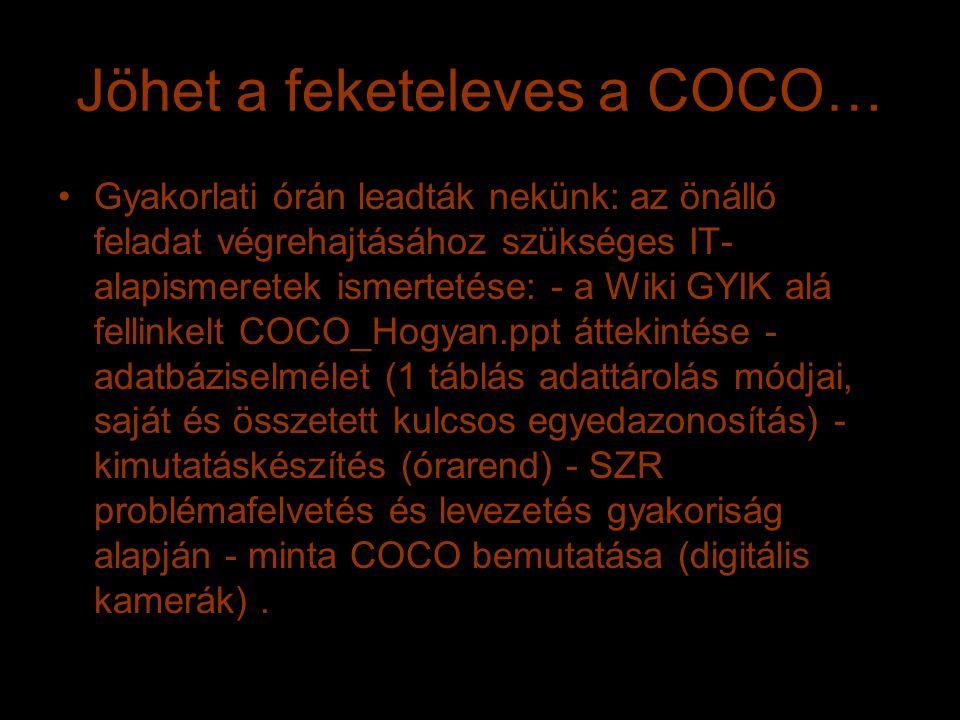 Jöhet a feketeleves a COCO… Gyakorlati órán leadták nekünk: az önálló feladat végrehajtásához szükséges IT- alapismeretek ismertetése: - a Wiki GYIK alá fellinkelt COCO_Hogyan.ppt áttekintése - adatbáziselmélet (1 táblás adattárolás módjai, saját és összetett kulcsos egyedazonosítás) - kimutatáskészítés (órarend) - SZR problémafelvetés és levezetés gyakoriság alapján - minta COCO bemutatása (digitális kamerák).