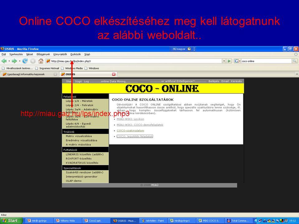 Online COCO elkészítéséhez meg kell látogatnunk az alábbi weboldalt..