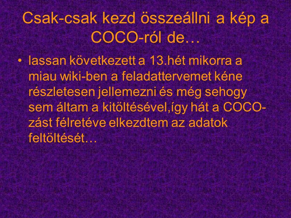 Csak-csak kezd összeállni a kép a COCO-ról de… lassan következett a 13.hét mikorra a miau wiki-ben a feladattervemet kéne részletesen jellemezni és még sehogy sem áltam a kitöltésével,így hát a COCO- zást félretéve elkezdtem az adatok feltöltését…