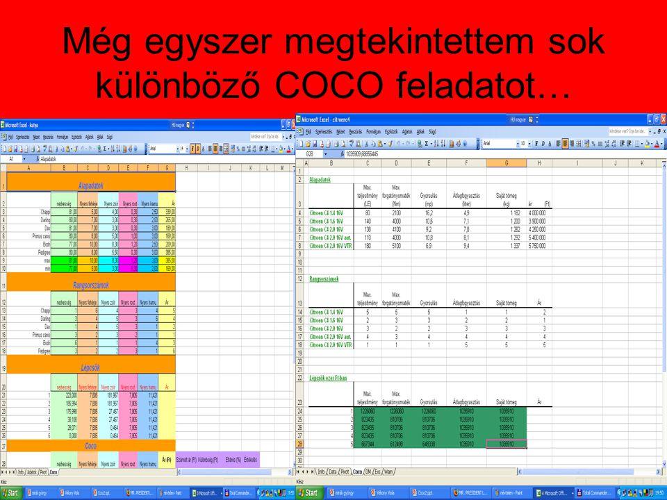 Még egyszer megtekintettem sok különböző COCO feladatot…