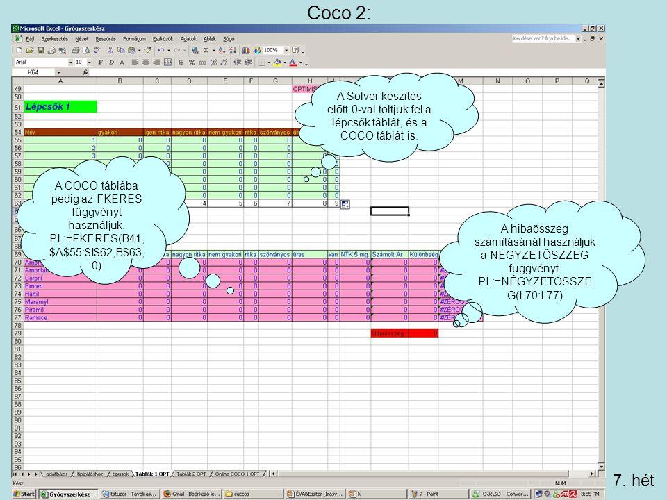 Coco 2: A COCO táblába pedig az FKERES függvényt használjuk.