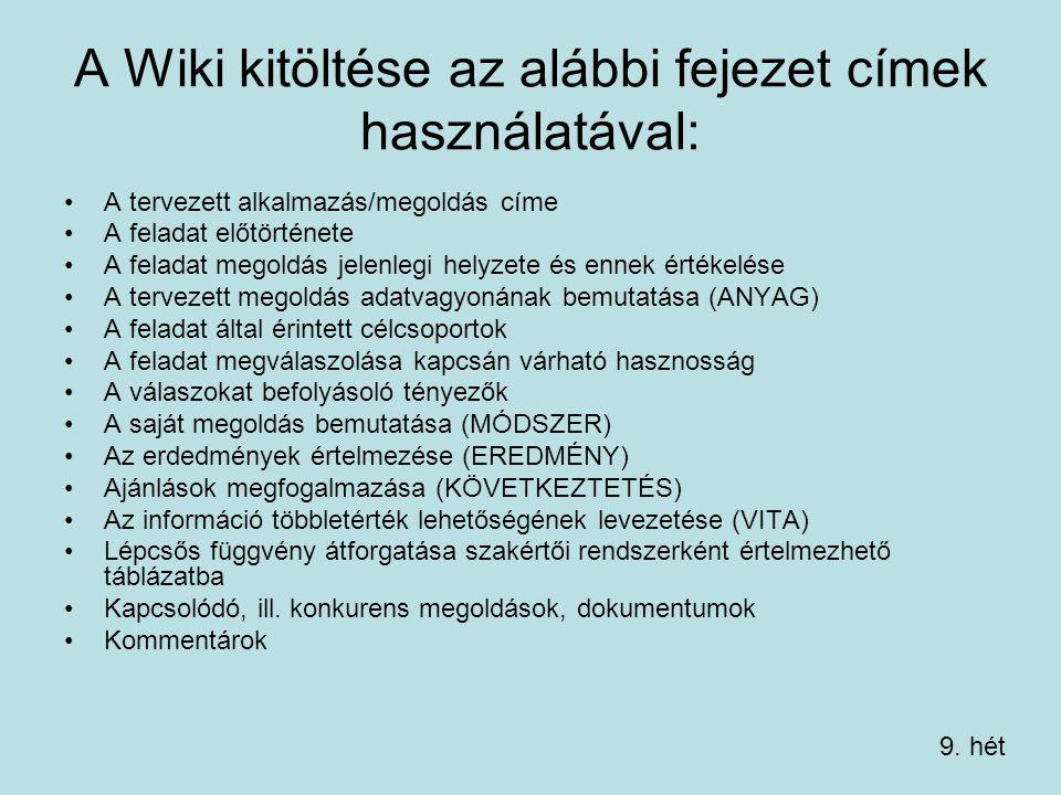 A Wiki kitöltése az alábbi fejezet címek használatával: A tervezett alkalmazás/megoldás címe A feladat előtörténete A feladat megoldás jelenlegi helyzete és ennek értékelése A tervezett megoldás adatvagyonának bemutatása (ANYAG) A feladat által érintett célcsoportok A feladat megválaszolása kapcsán várható hasznosság A válaszokat befolyásoló tényezők A saját megoldás bemutatása (MÓDSZER) Az erdedmények értelmezése (EREDMÉNY) Ajánlások megfogalmazása (KÖVETKEZTETÉS) Az információ többletérték lehetőségének levezetése (VITA) Lépcsős függvény átforgatása szakértői rendszerként értelmezhető táblázatba Kapcsolódó, ill.