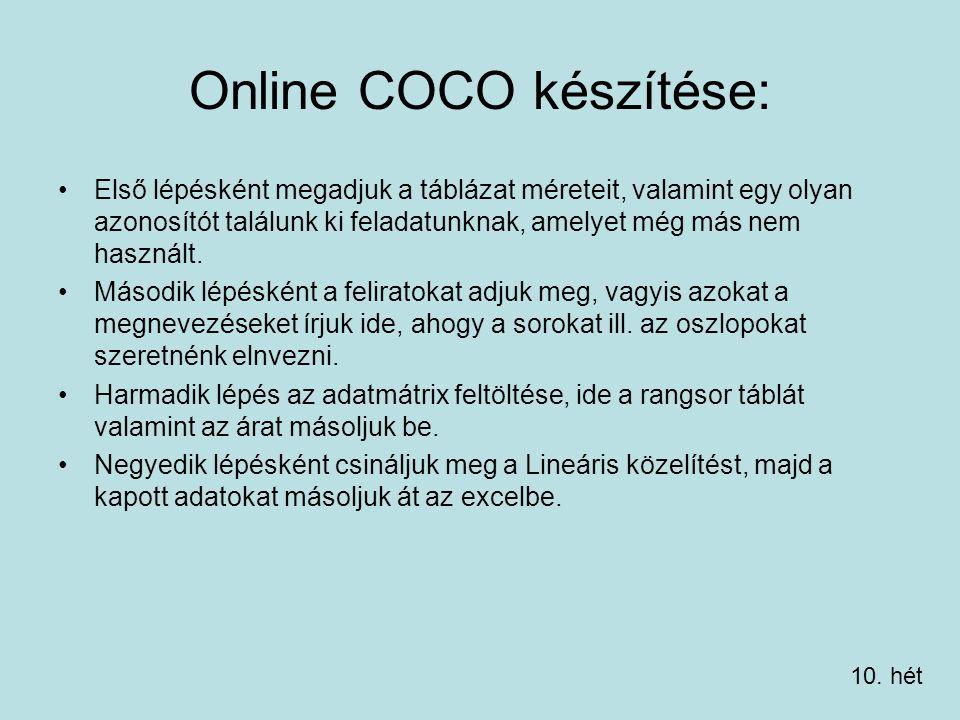 Online COCO készítése: Első lépésként megadjuk a táblázat méreteit, valamint egy olyan azonosítót találunk ki feladatunknak, amelyet még más nem használt.