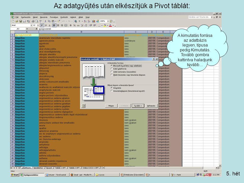 Az adatgyűjtés után elkészítjük a Pivot táblát: A kimutatás forrása az adatbázis legyen, típusa pedig Kimutatás.