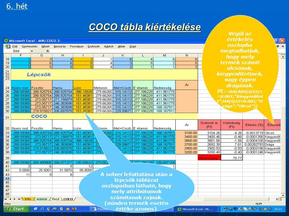 CoCo tábla elkészítése V. Solver használata 6.