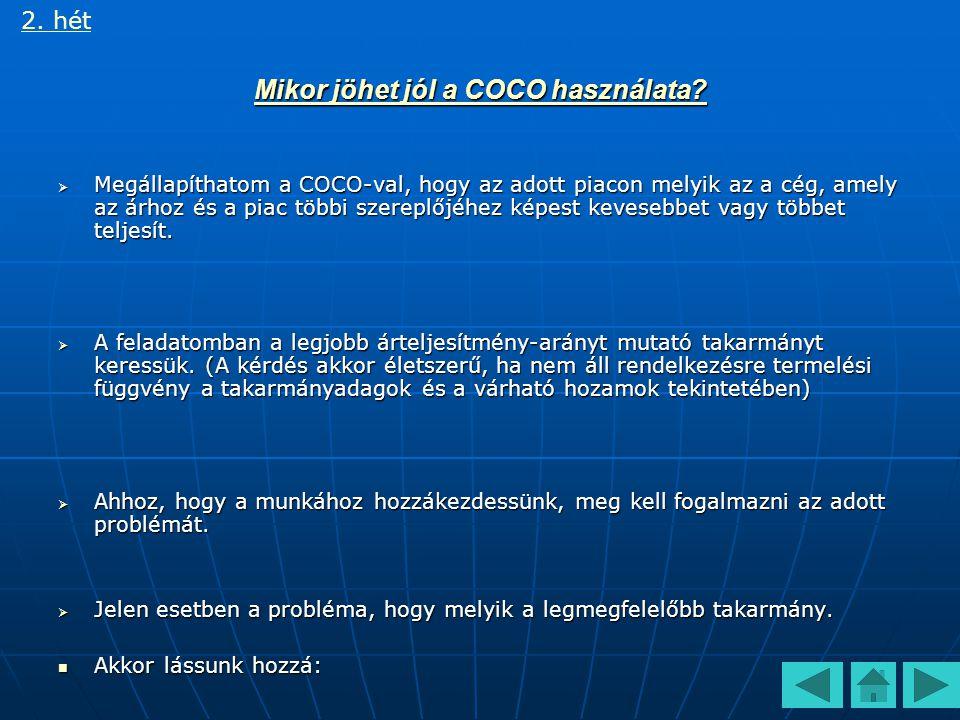 Sertéstakarmányok összehasonlítása COCO használatával 2. hét