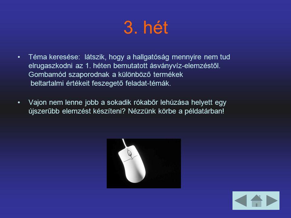 3. hét Téma keresése: látszik, hogy a hallgatóság mennyire nem tud elrugaszkodni az 1.