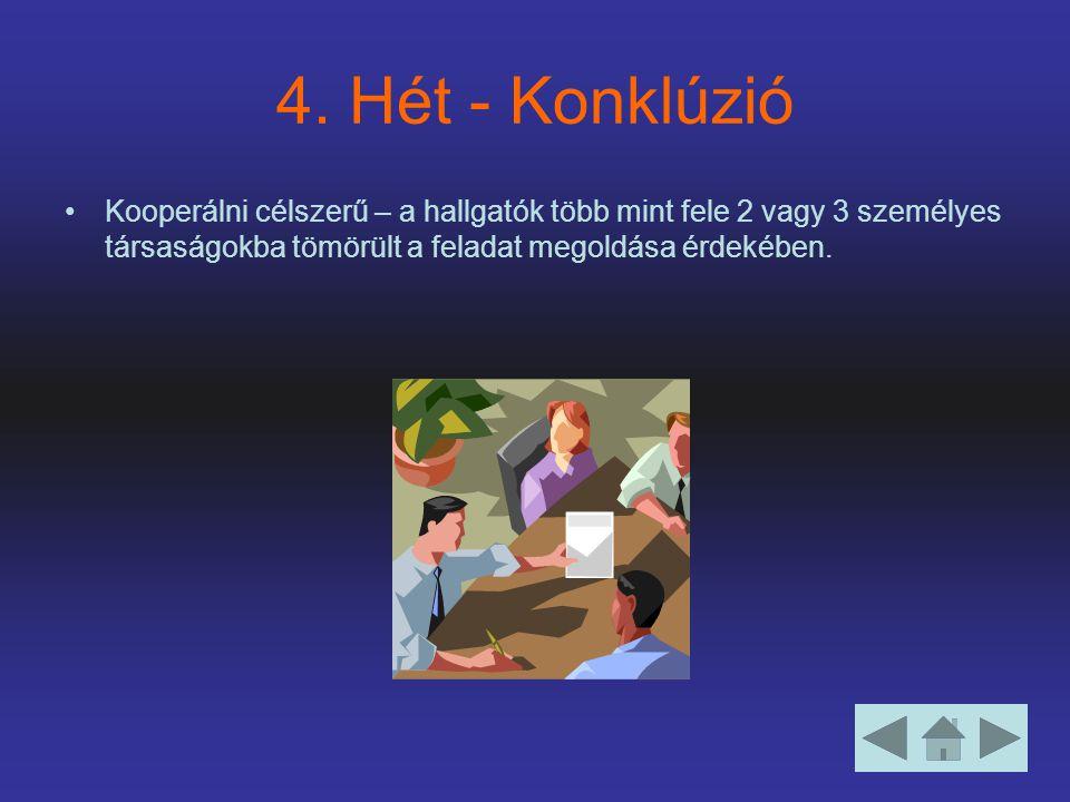 4. Hét - Konklúzió Kooperálni célszerű – a hallgatók több mint fele 2 vagy 3 személyes társaságokba tömörült a feladat megoldása érdekében.