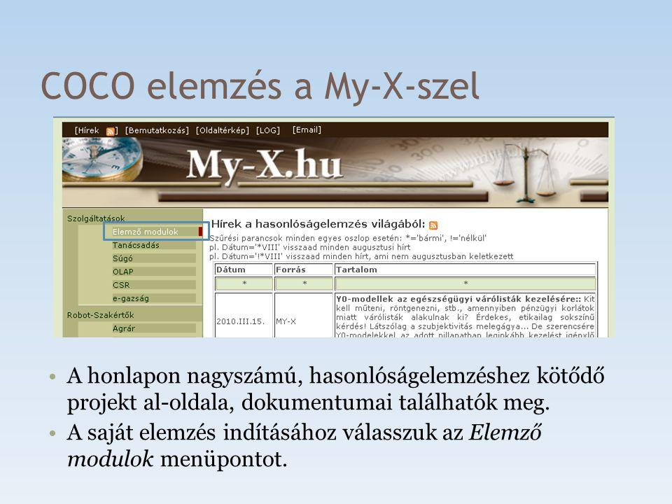 COCO elemzés a My-X-szel A honlapon nagyszámú, hasonlóságelemzéshez kötődő projekt al-oldala, dokumentumai találhatók meg. A saját elemzés indításához