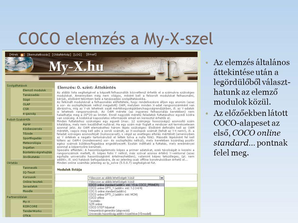 COCO elemzés a My-X-szel Az elemzés 3 lépésen keresztül hozható létre: 1.Problémaméret megadása 2.Adatfeltöltés 3.Elemzés futtatása