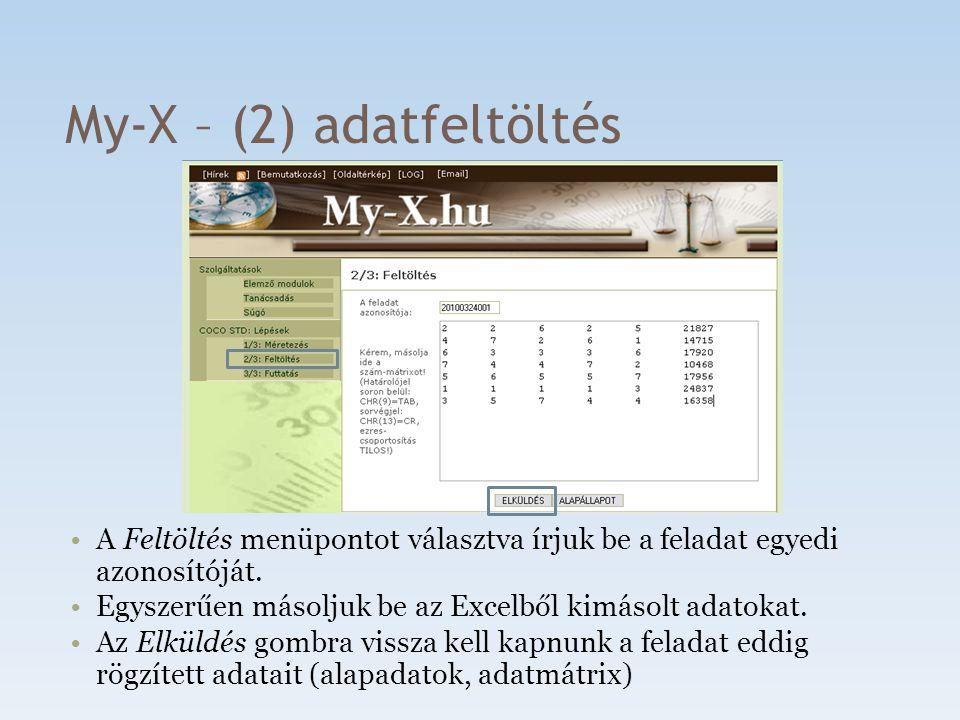 My-X – (2) adatfeltöltés A Feltöltés menüpontot választva írjuk be a feladat egyedi azonosítóját. Egyszerűen másoljuk be az Excelből kimásolt adatokat