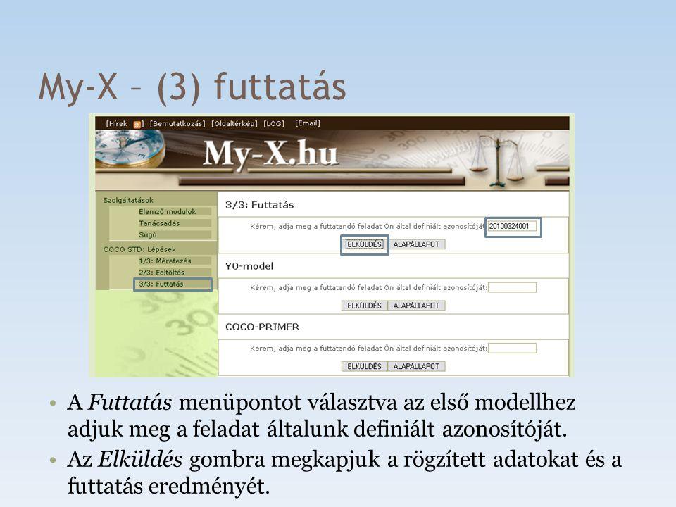 My-X – (3) futtatás A Futtatás menüpontot választva az első modellhez adjuk meg a feladat általunk definiált azonosítóját. Az Elküldés gombra megkapju