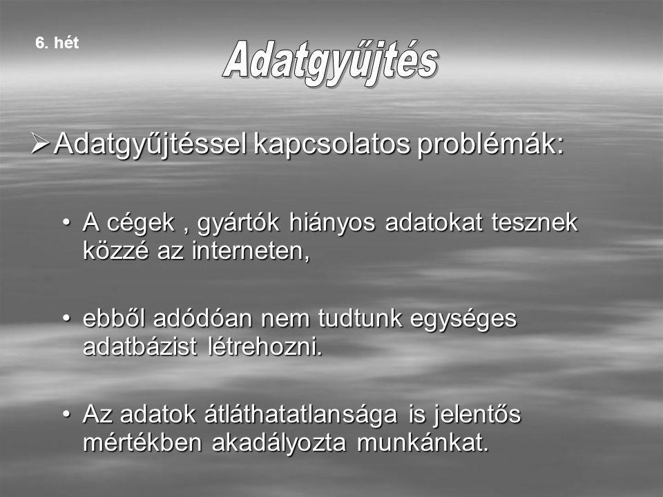 AAAAdatgyűjtéssel kapcsolatos problémák: A cégek, gyártók hiányos adatokat tesznek közzé az interneten, ebből adódóan nem tudtunk egységes adatbázist létrehozni.