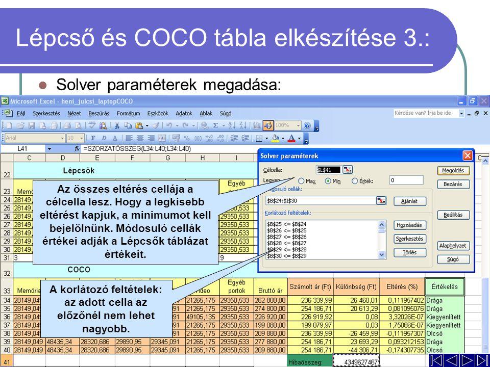 Lépcső és COCO tábla elkészítése 3.: Solver paraméterek megadása: A korlátozó feltételek: az adott cella az előzőnél nem lehet nagyobb. Az összes elté
