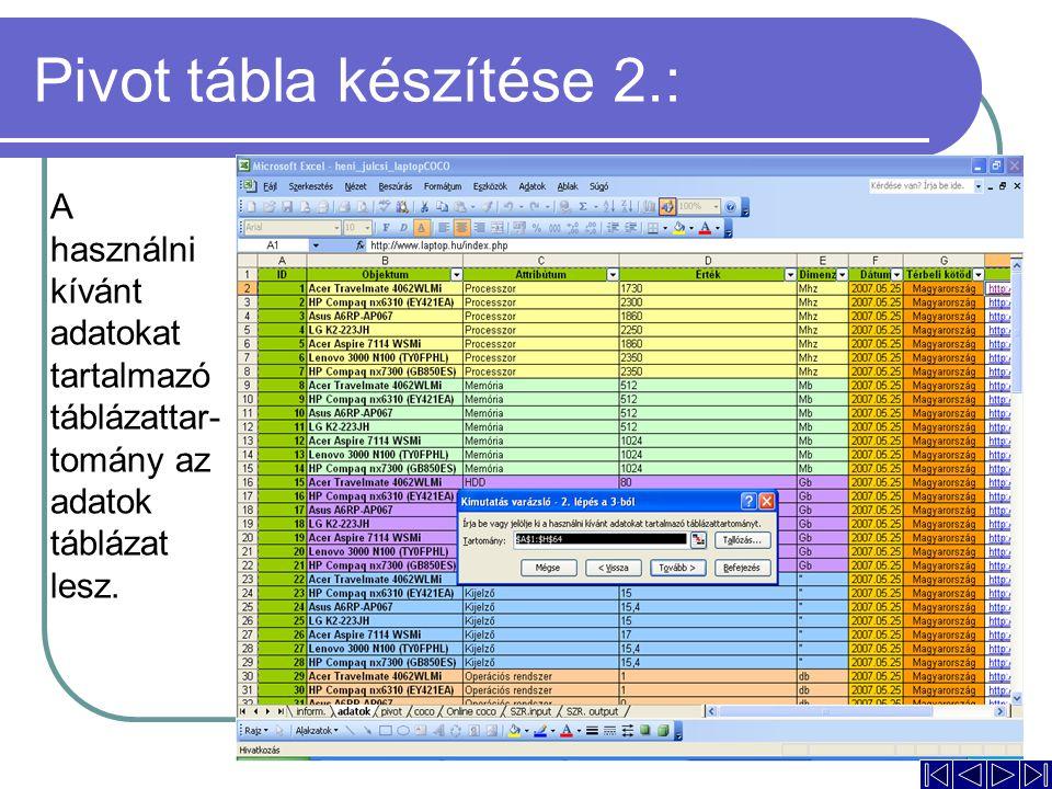 Pivot tábla készítése 2.: A használni kívánt adatokat tartalmazó táblázattar- tomány az adatok táblázat lesz.