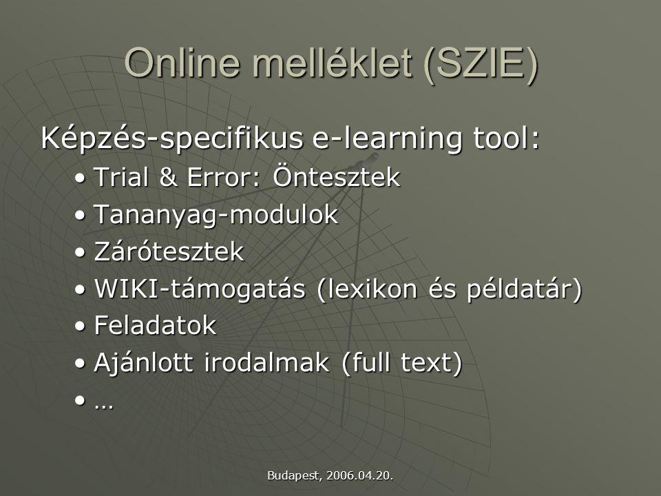 Budapest, 2006.04.20. Online melléklet (SZIE) Képzés-specifikus e-learning tool: Trial & Error: ÖntesztekTrial & Error: Öntesztek Tananyag-modulokTana