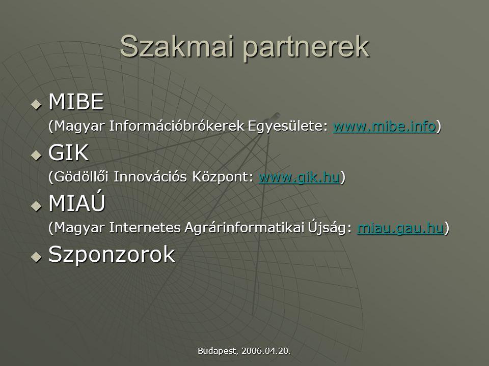 Budapest, 2006.04.20. Szakmai partnerek  MIBE (Magyar Információbrókerek Egyesülete: www.mibe.info) www.mibe.info  GIK (Gödöllői Innovációs Központ: