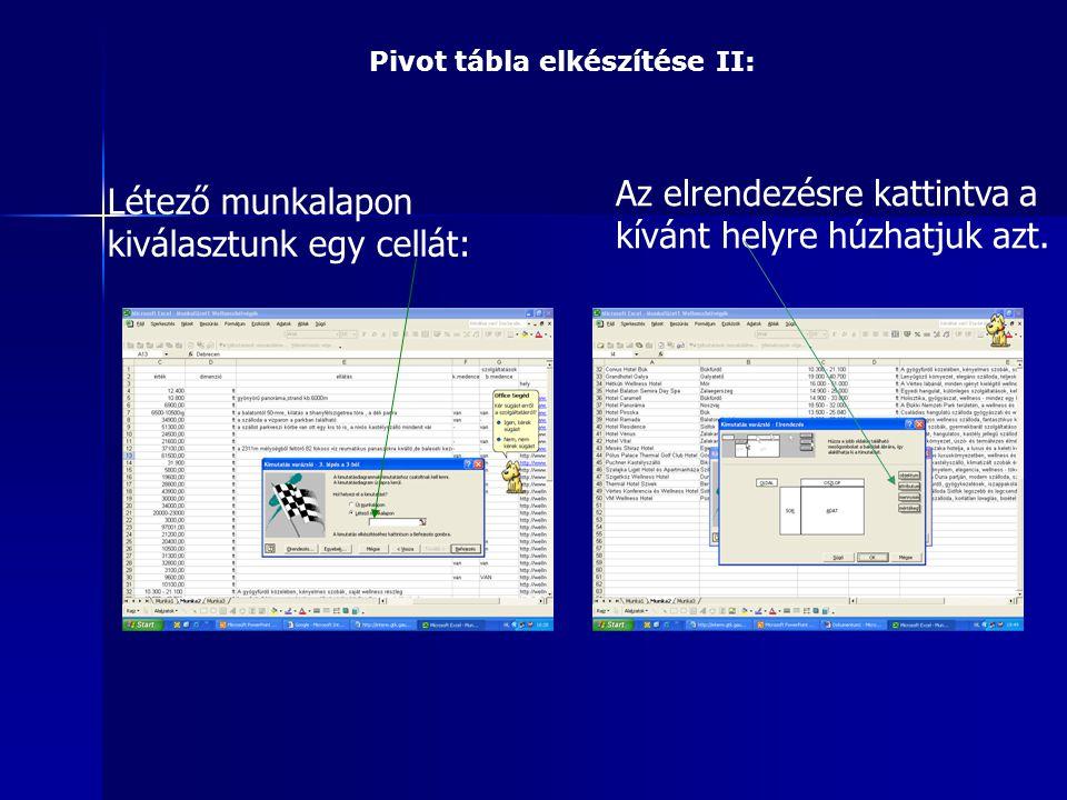 Pivot tábla elkészítése II: Létező munkalapon kiválasztunk egy cellát: Az elrendezésre kattintva a kívánt helyre húzhatjuk azt.