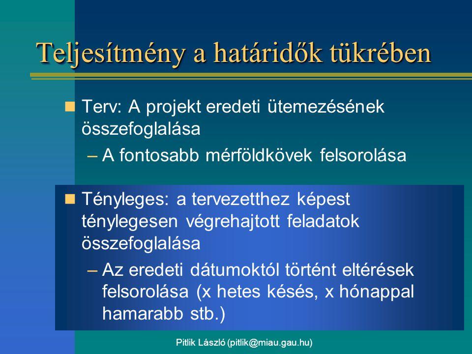 Pitlik László (pitlik@miau.gau.hu) Teljesítmény a határidők tükrében Terv: A projekt eredeti ütemezésének összefoglalása –A fontosabb mérföldkövek fel