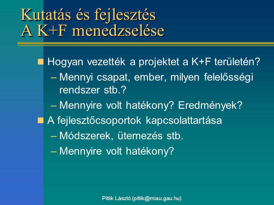Pitlik László (pitlik@miau.gau.hu) Kutatás és fejlesztés A K+F menedzselése Hogyan vezették a projektet a K+F területén? –Mennyi csapat, ember, milyen