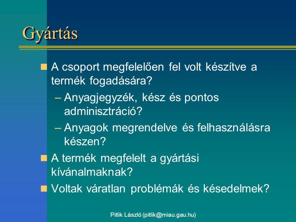 Pitlik László (pitlik@miau.gau.hu) GyártásGyártás A csoport megfelelően fel volt készítve a termék fogadására.