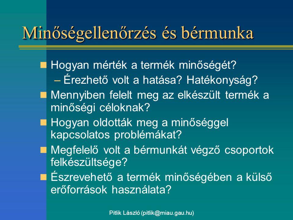 Pitlik László (pitlik@miau.gau.hu) Minőségellenőrzés és bérmunka Hogyan mérték a termék minőségét? –Érezhető volt a hatása? Hatékonyság? Mennyiben fel