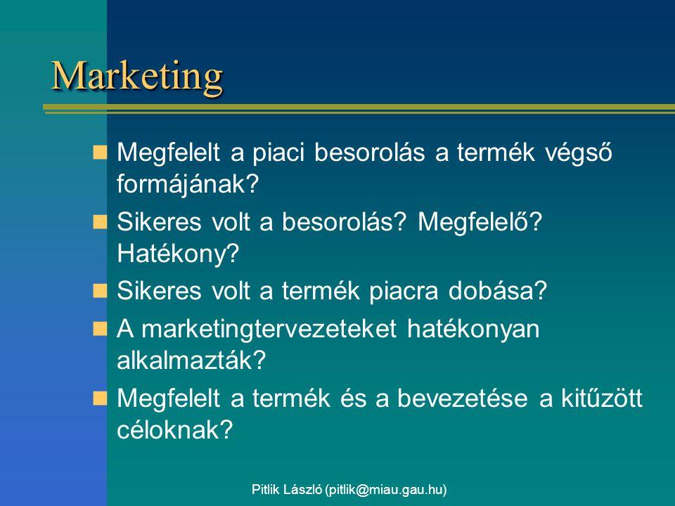 Pitlik László (pitlik@miau.gau.hu) MarketingMarketing Megfelelt a piaci besorolás a termék végső formájának? Sikeres volt a besorolás? Megfelelő? Haté