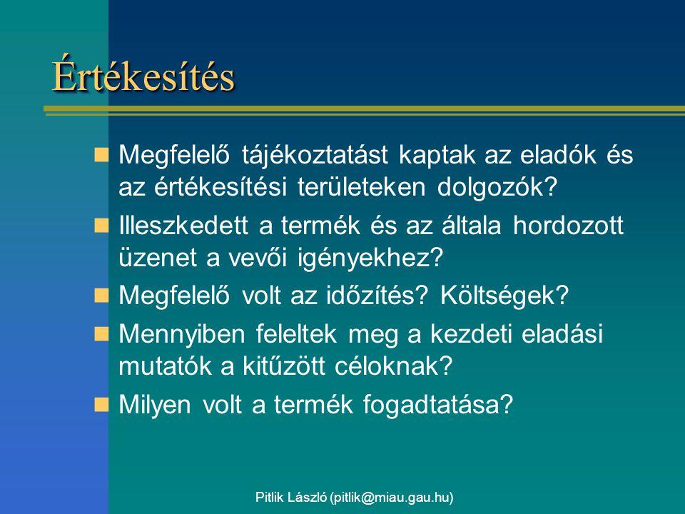 Pitlik László (pitlik@miau.gau.hu) ÉrtékesítésÉrtékesítés Megfelelő tájékoztatást kaptak az eladók és az értékesítési területeken dolgozók? Illeszkede