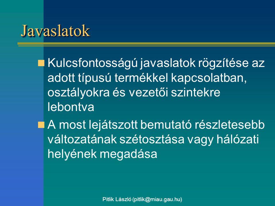 Pitlik László (pitlik@miau.gau.hu) JavaslatokJavaslatok Kulcsfontosságú javaslatok rögzítése az adott típusú termékkel kapcsolatban, osztályokra és vezetői szintekre lebontva A most lejátszott bemutató részletesebb változatának szétosztása vagy hálózati helyének megadása