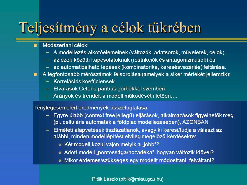 Pitlik László (pitlik@miau.gau.hu) Teljesítmény a célok tükrében Módszertani célok: –A modellezés alkotóelemeinek (változók, adatsorok, műveletek, célok), –az ezek közötti kapcsolatoknak (restrikciók és antagonizmusok) és –az automatizálható lépések (kombinatorika, keresésvezérlés) feltárása.