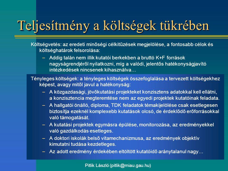 Pitlik László (pitlik@miau.gau.hu) Teljesítmény a költségek tükrében Költségvetés: az eredeti minőségi célkitűzések megjelölése, a fontosabb célok és költséghatárok felsorolása: –Addig talán nem illik kutatói berkekben a bruttó K+F források nagyságrendjéről nyilatkozni, míg a valódi, jelentős hatékonyságjavító intézkedések nincsenek kihasználva… Tényleges költségek: a tényleges költségek összefoglalása a tervezett költségekhez képest, avagy mitől javul a hatékonyság: –A közgazdasági, jövőkutatási projekteket konzisztens adatokkal kell ellátni, a konzisztencia megteremtése nem az egyedi projektek kutatóinak feladata.
