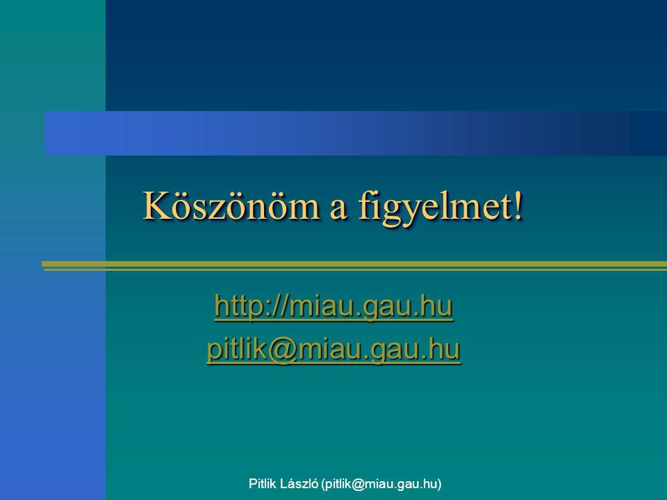 Pitlik László (pitlik@miau.gau.hu) Köszönöm a figyelmet! http://miau.gau.hu pitlik@miau.gau.hu
