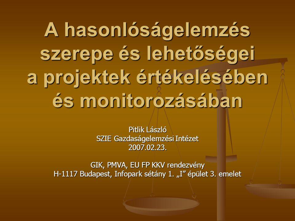 A hasonlóságelemzés szerepe és lehetőségei a projektek értékelésében és monitorozásában Pitlik László SZIE Gazdaságelemzési Intézet 2007.02.23.