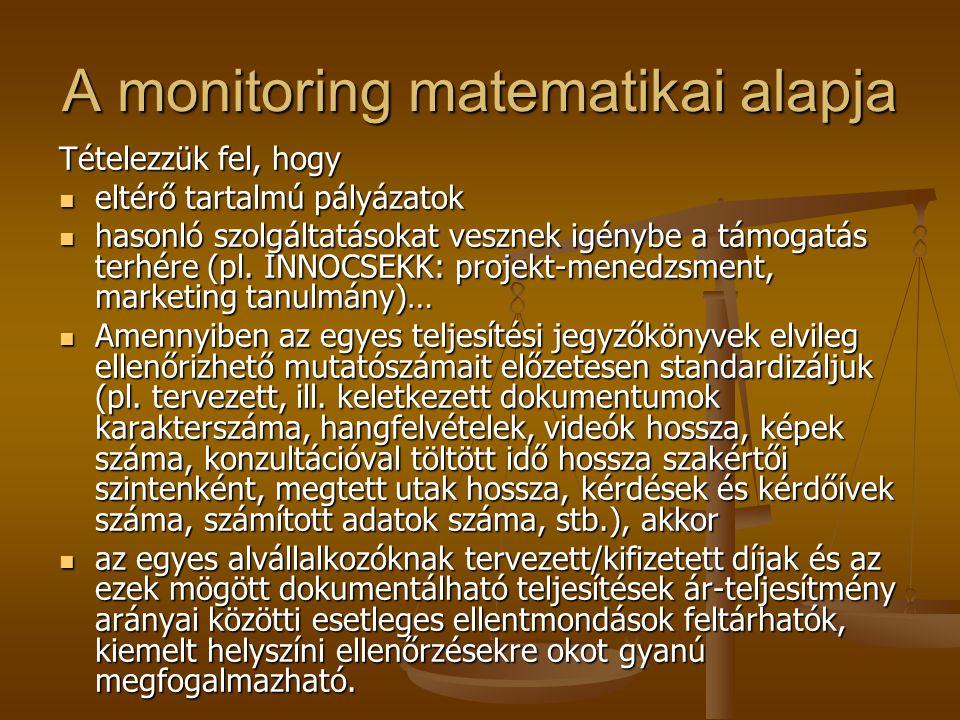 A monitoring matematikai alapja Tételezzük fel, hogy eltérő tartalmú pályázatok eltérő tartalmú pályázatok hasonló szolgáltatásokat vesznek igénybe a támogatás terhére (pl.