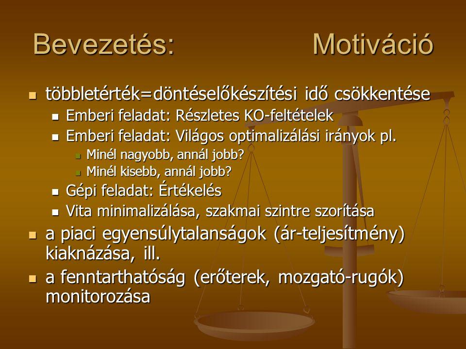 Bevezetés: Motiváció többletérték=döntéselőkészítési idő csökkentése többletérték=döntéselőkészítési idő csökkentése Emberi feladat: Részletes KO-felt