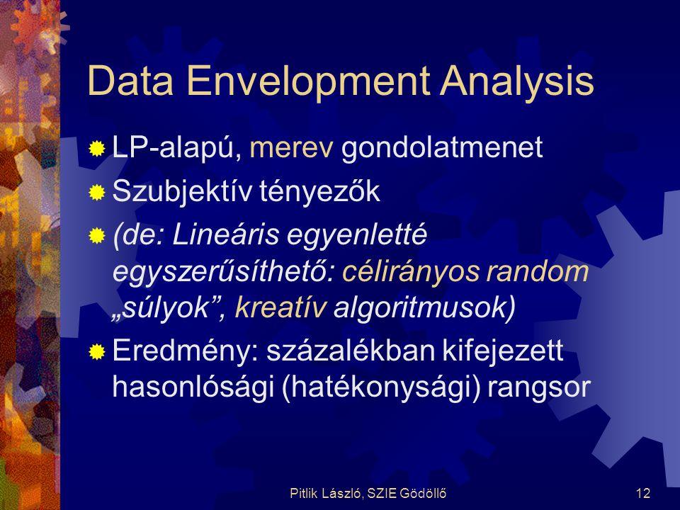 Pitlik László, SZIE Gödöllő12 Data Envelopment Analysis  LP-alapú, merev gondolatmenet  Szubjektív tényezők  (de: Lineáris egyenletté egyszerűsíthe