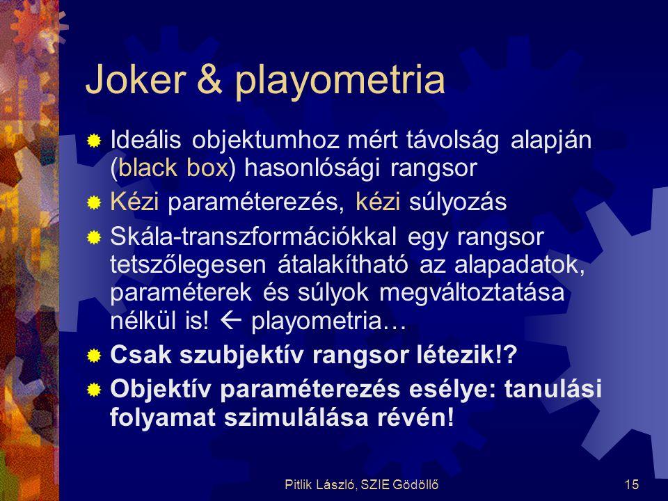 Pitlik László, SZIE Gödöllő15 Joker & playometria  Ideális objektumhoz mért távolság alapján (black box) hasonlósági rangsor  Kézi paraméterezés, ké