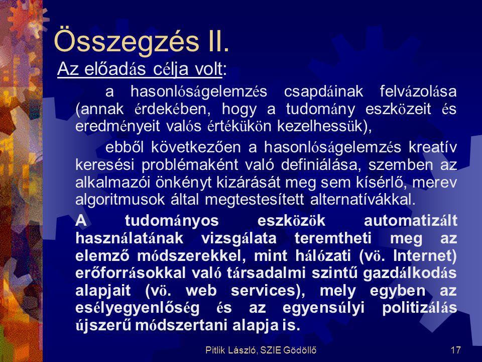 Pitlik László, SZIE Gödöllő17 Összegzés II. Az előad á s c é lja volt: a hasonl ó s á gelemz é s csapd á inak felv á zol á sa (annak é rdek é ben, hog
