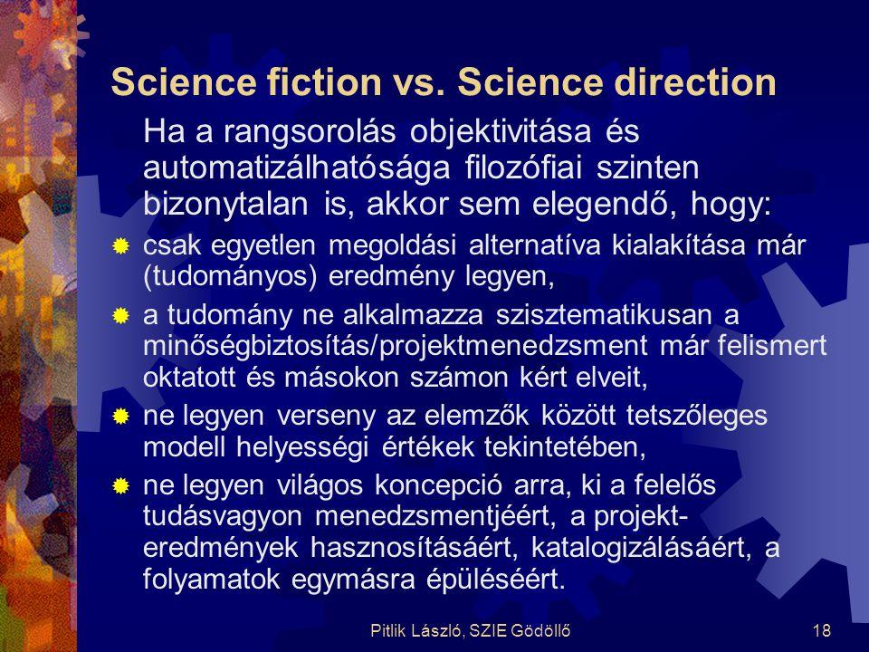 Pitlik László, SZIE Gödöllő18 Science fiction vs. Science direction Ha a rangsorolás objektivitása és automatizálhatósága filozófiai szinten bizonytal