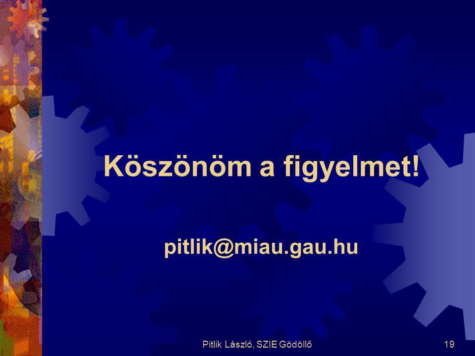 Pitlik László, SZIE Gödöllő19 Köszönöm a figyelmet! pitlik@miau.gau.hu