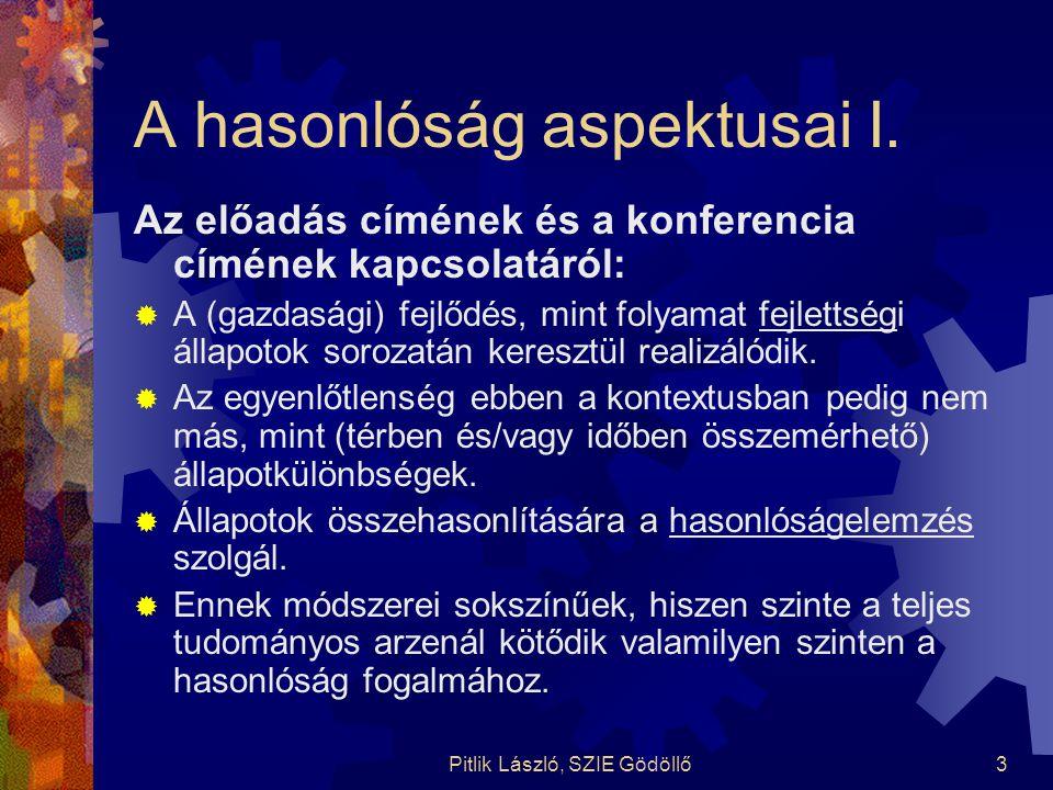 Pitlik László, SZIE Gödöllő3 A hasonlóság aspektusai I. Az előadás címének és a konferencia címének kapcsolatáról:  A (gazdasági) fejlődés, mint foly