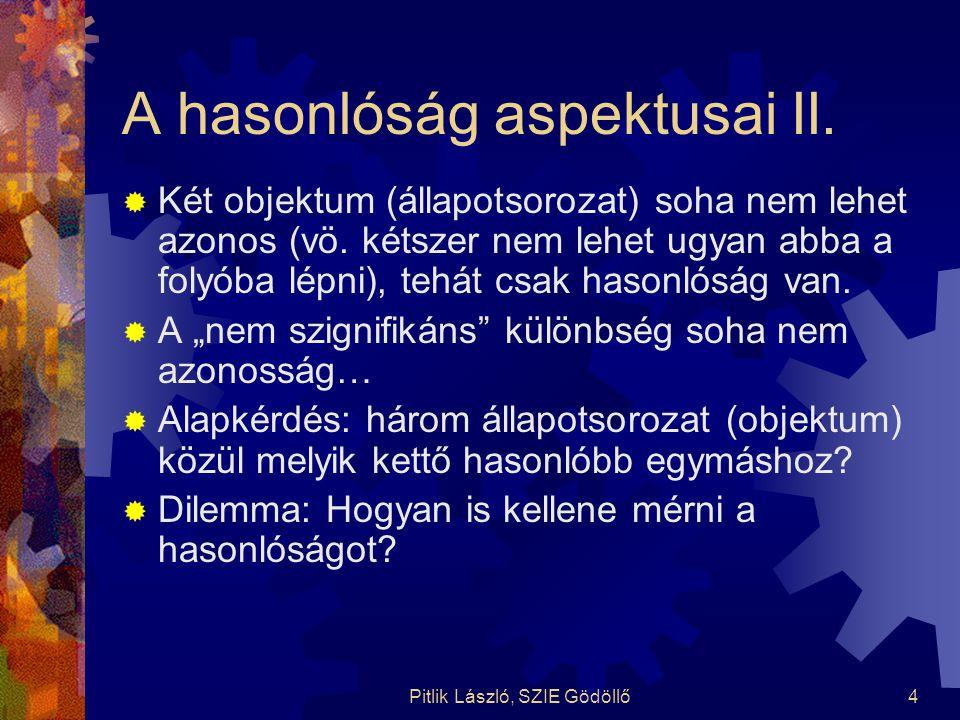 Pitlik László, SZIE Gödöllő4 A hasonlóság aspektusai II.  Két objektum (állapotsorozat) soha nem lehet azonos (vö. kétszer nem lehet ugyan abba a fol