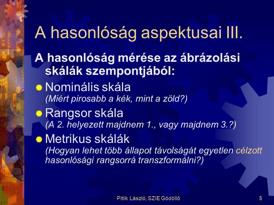 Pitlik László, SZIE Gödöllő5 A hasonlóság aspektusai III. A hasonlóság mérése az ábrázolási skálák szempontjából:  Nominális skála (Miért pirosabb a