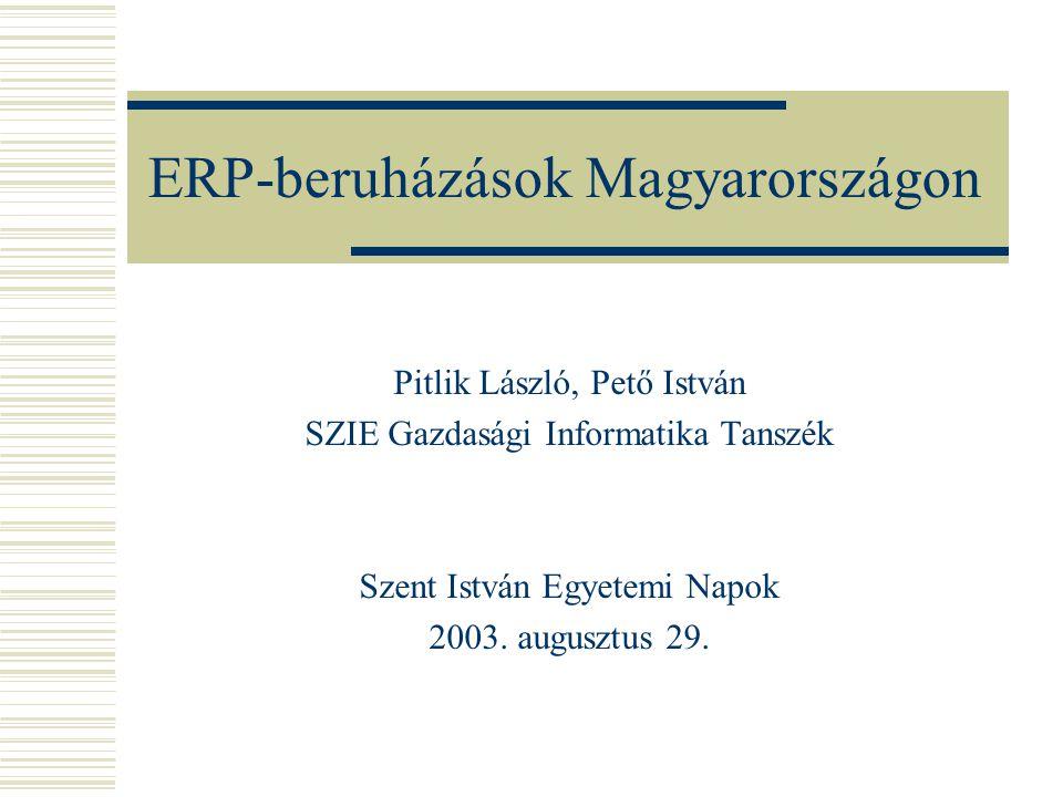 ERP-beruházások Magyarországon Pitlik László, Pető István SZIE Gazdasági Informatika Tanszék Szent István Egyetemi Napok 2003.