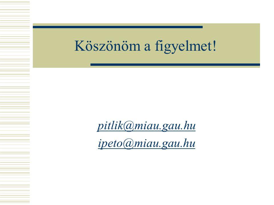 Köszönöm a figyelmet! pitlik@miau.gau.hu ipeto@miau.gau.hu