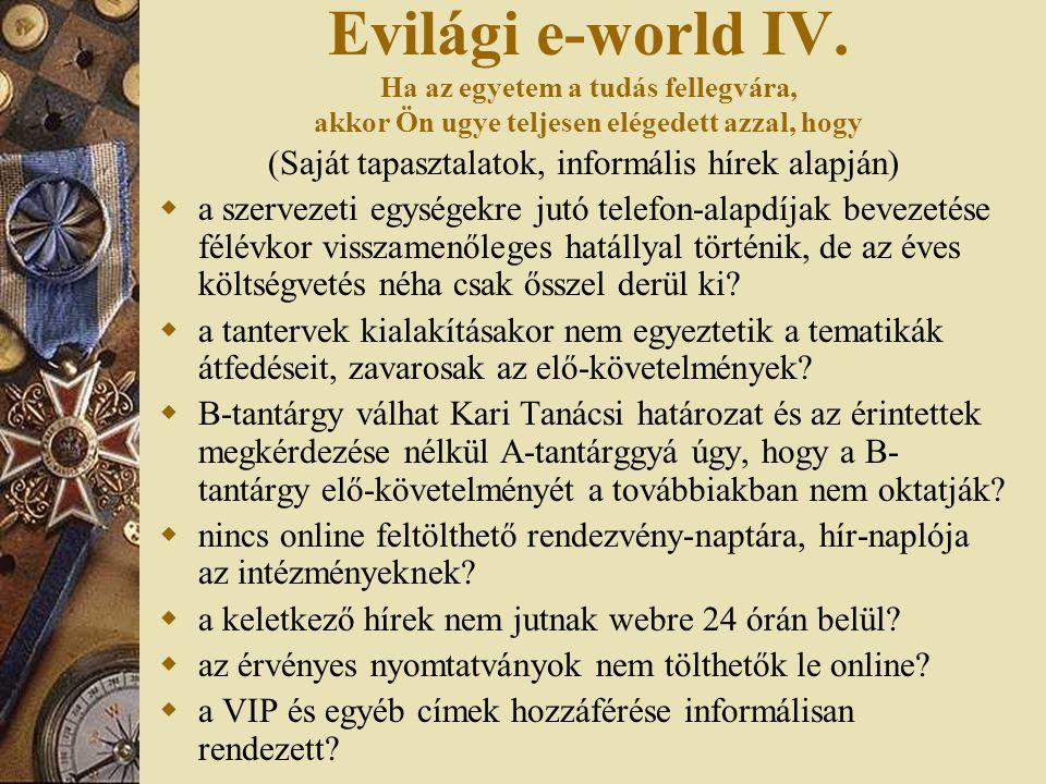 Evilági e-world IV. Ha az egyetem a tudás fellegvára, akkor Ön ugye teljesen elégedett azzal, hogy (Saját tapasztalatok, informális hírek alapján)  a